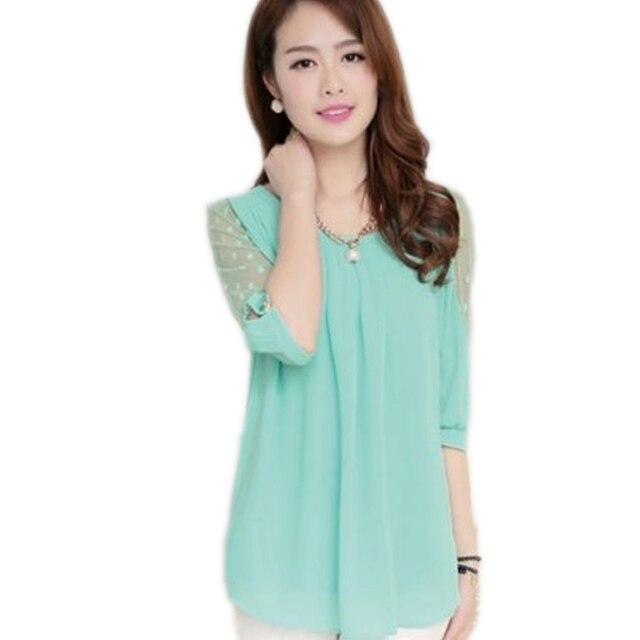 f97d23137 جديد الكورية الصيف blusas femininas فضفاضة الدانتيل بلوزة س الرقبة نصف كم  نقطة الطباعة الشيفون البلوزات