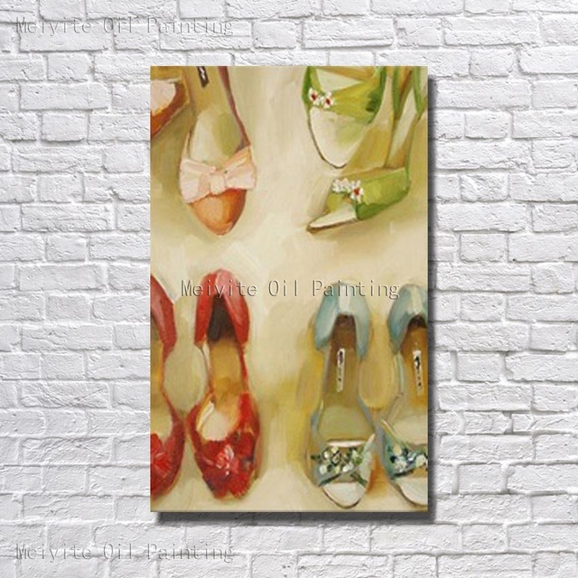 Free Shipping Hand Painted Oil Painting On Canvas Abstract Shoes Oil  Painting Canvas Wall Art Living