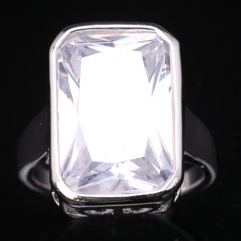 Huge Gems White Zircon 925 Sterling Silver Trendy Jewelry Ring US# Size 6 / 7 / 8 / 9 S1778 equte rssw30c1s7 fashionable titanium steel two zircon women s ring silver white us size 7