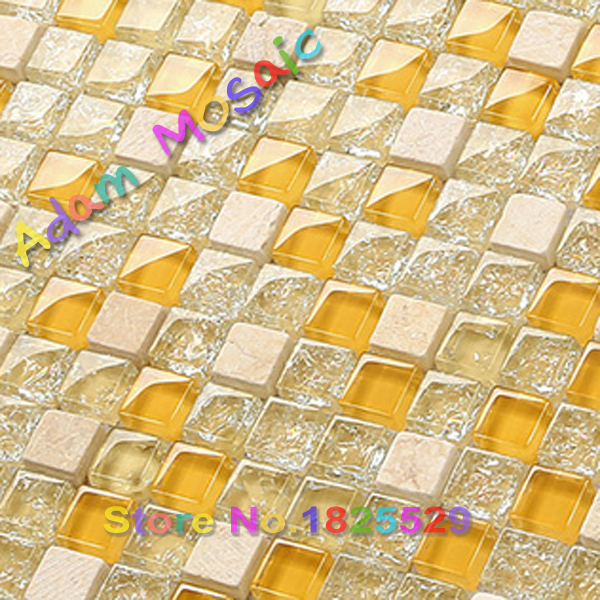 Mini Glass Tiles Crackle Mosaic Kitchen Backsplash Beige Stone Wall