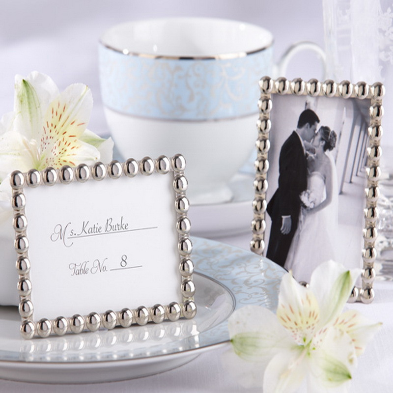 100pcs/Lot+\'Silver Metal Pearls\' Mini Picture Frame Wedding Favor ...