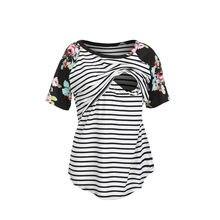6ec01bcdea1 Nueva marca de ropa de embarazo lactancia camiseta para embarazadas  superior de enfermería de algodón(