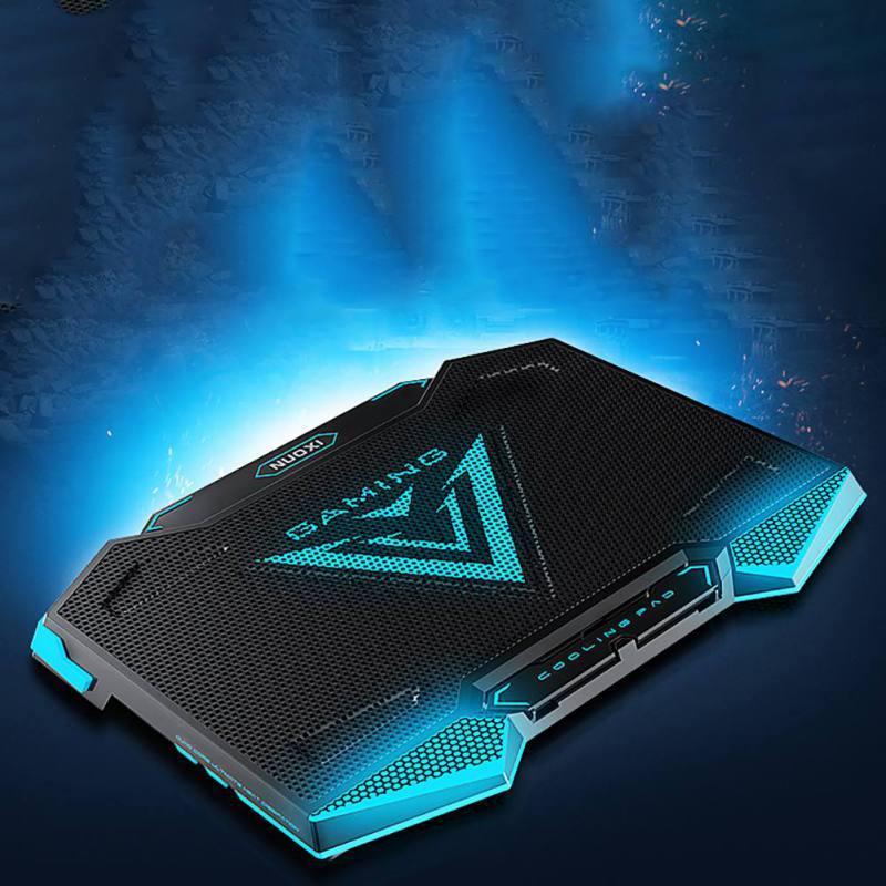 Refroidisseur d'ordinateur portable Pad avec 5 ventilateurs de refroidissement 2 Port USB rétro lumière Stand vitesse +/-réglable pour 15.6 17.3 18 19 pouces Notebook Gaming