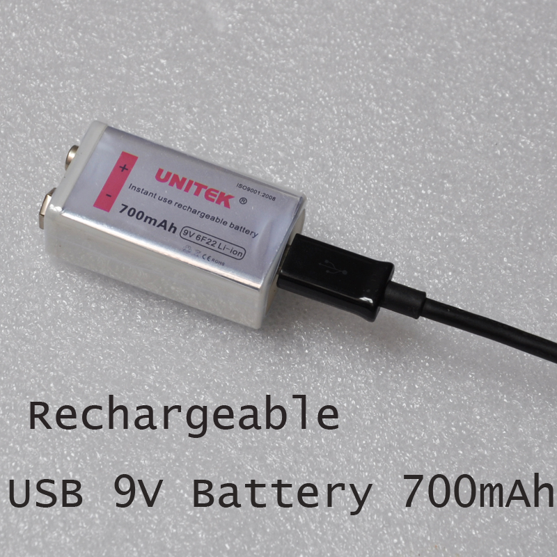 NEW UNITEK 6F22 USB 9V rechargeable lithium ion battery 700mAh li ion cell for wireless microphone replace ni-mh nimh 9V cell unitek белый usb30 2 м