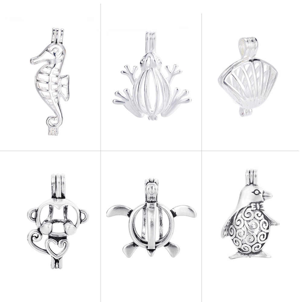1pc Vintage Silver Plated Filigree Bronze Seashell Cage Locket Pendants for Essential Oil Aromatherapy Diffuser DIY Jewelry
