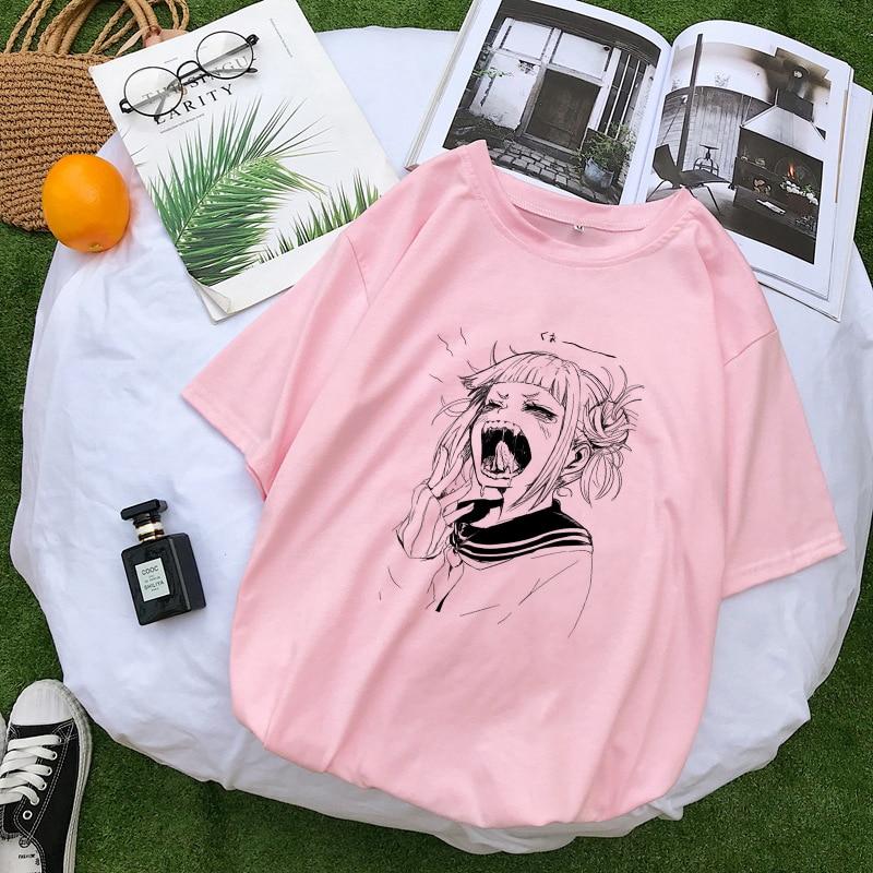 Yandere Himiko Toga Kawaii Print T-shirt Otaku Summer Short Sleeve Women Clothes Harajuku Japanses Style Anime Girl Pink T Shirt