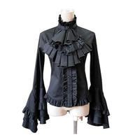 Lolita Gothic Vintage Shirt Lace Flare Sleeve Princess Lolita Cosplay Costume Lolita Long Sleeve Shirt Free Shipping