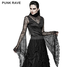 PUNK RAVE Gothic Style Spider Flare Sleeve T-shirt Steampunk Vintage Black Hollow Out Sexy Shirt Halloween Party Tops