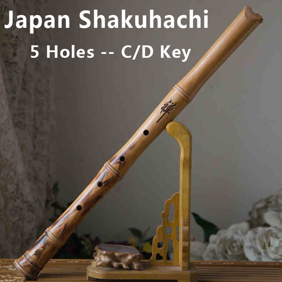 Traditional Japanese Flute Shakuhachi Wooden Wind Musical Instruments 5 Holes Japan Music Flauta C D Key