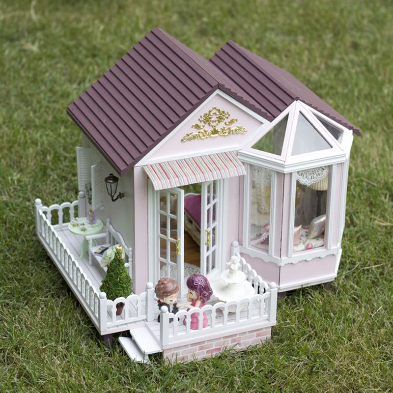 все цены на DIY Model Doll House Casa Miniature Dollhouse with Furnitures LED 3D Wooden House Toys For Children Gift Handmade Crafts A012 #E онлайн