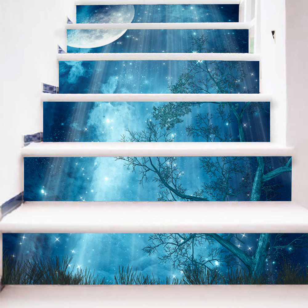 Image 4 - 6pcs 3D Ceramic Geometric Tile Floor Wall Stickers Self   Adhesive Stairway Stickers DIY For Room Stairs Decoration Home-in Wall Stickers from Home & Garden