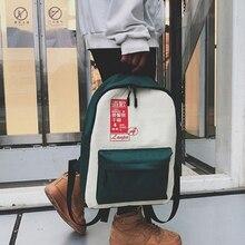 Women Bag Spring Academy Style Double Shoulder Bag Letter MINI Backpack Travel Canvas Backpack double tassel canvas backpack