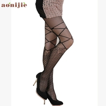 Фотография Sexy Black Women Stock Female Tight Fishnet Stockings Femme Pantyhose Girls High Socks Over Knee Stockings Elastic sock Mar29ZH