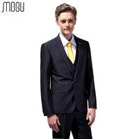 MOGU Three Piece Pure Color Wedding Suits Men 2017 New Fashion Solid Slim Fit Suits For Men High Quality Asian Size Men's Suits