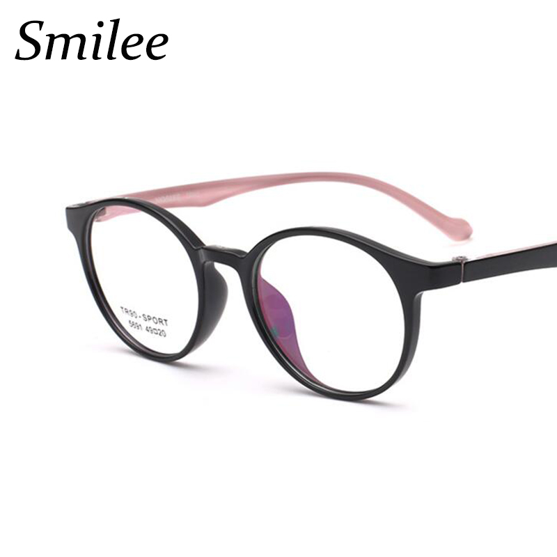 74f8eed129 Ultralight TR90 Round Glasses Frame Men Women Black pink Prescription  Eyeglasses Retro Optical glasses Clear circle glasses
