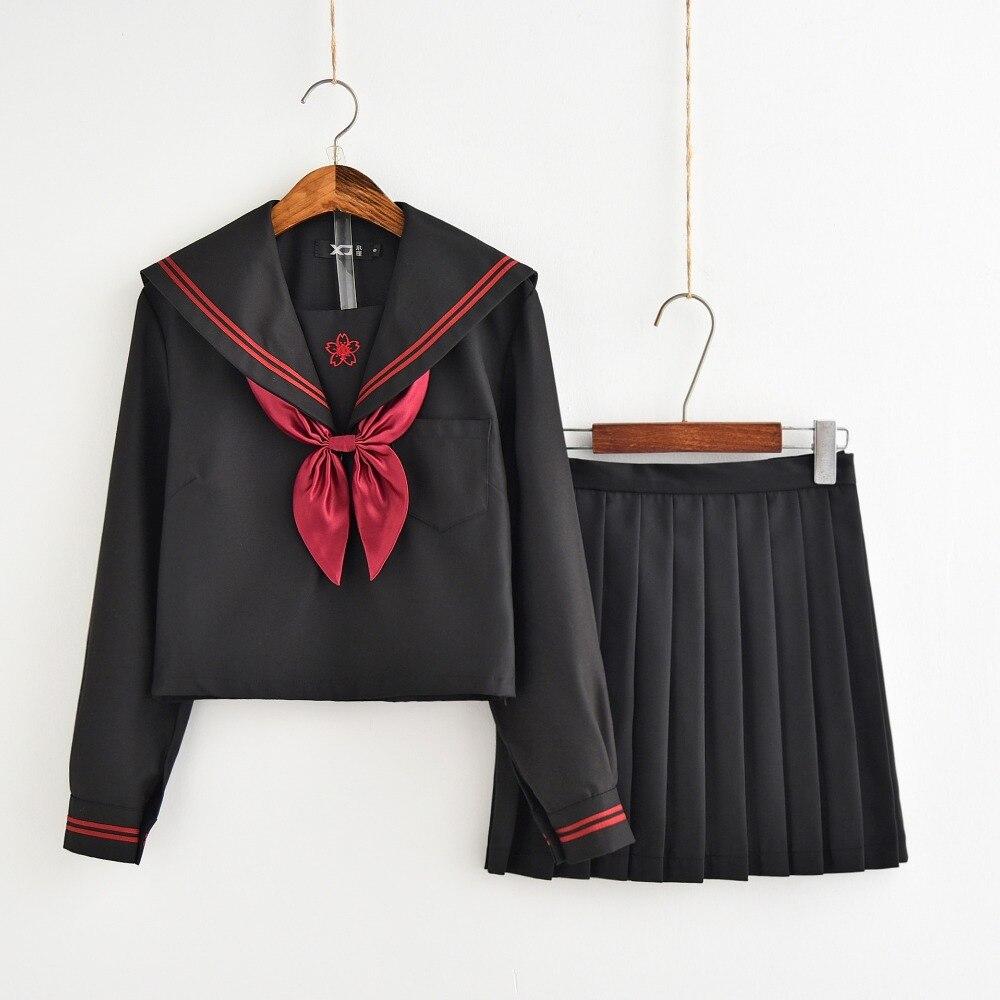 Dark Demon Japanese JK Sets School Uniform Girls Sakura Embroideried Autumn High School Women Novelty Sailor Suits Uniforms XXL