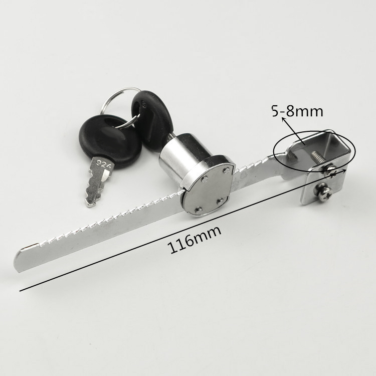 Sliding Glass Door Ratchet Lock with 2 Keys for Cabinet Showcase Display LB88