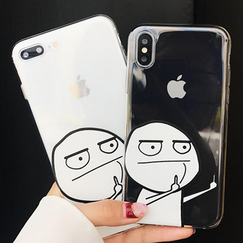 Роскошные прозрачные мультфильм смешной 7 Plus 8 плюс Чехол для телефона для iPhone X 6 6 S 7 8 Plus Чехлы силиконовые ТПУ Мягкая Мода чехол принципиаль…