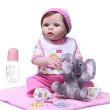22inch Realistic Soft Full Silicone Vinyl Newborn Babies Toy Girl Princess Clothes Pacifier Lifelike Handmade Gift Reborn Doll 22inch full silicone newborn lifelike baby doll polka dot skirt bow headband hot pink deer toy early childhood oct31
