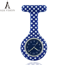 dots silicone nurse watch fob pocket watch  doctor nurse gift  colored dial  Japenese  high quality hospital clock ALK VISION silicone nurse watch fob pocket quartz medical watch dots doctor nursing lapel gift hospital health brooch watch wholesale