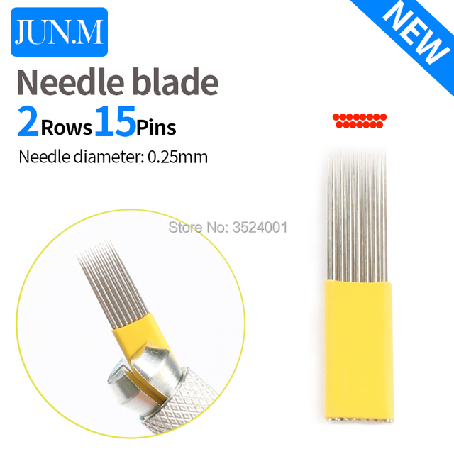 10PCS 0.25mm Flat shape double row 15 pin Needle Eyebrow Makeup Manual Tattoo Blade For Permanent Microblading Emb
