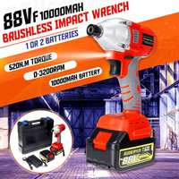 220v Brushless Cordless Impact Electric Wrench 10000mAh Li Battery Hand Drill 520N.m Max Torque Household Wrench Power Tool