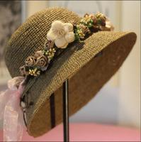 PJ.SDZM Summer New Arrival Women Straw Sun Hat Big Eaves Beach Hat Fashion Flowers Caps