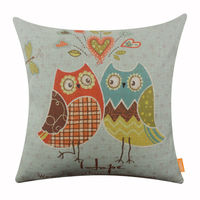 LINKWELL 18x18 Inches Pillow Case Burlap Cushion Cover Fashion Blue Owl Cute Decoration Hope Dragonfly Cartoon
