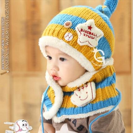Winter children hat + scarf neckerchief hat plush baby hat knitted animal monkey beanie male female child ear protector cap gorros de baño con flores