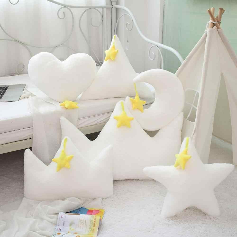 Fantasie Gelben Stern Mond Crown Herz Shaped Plüsch Kissen Gefüllte Sofa Stuhl Kissen Faux Hase Pelz Zurück Rest Pflege Mädchen