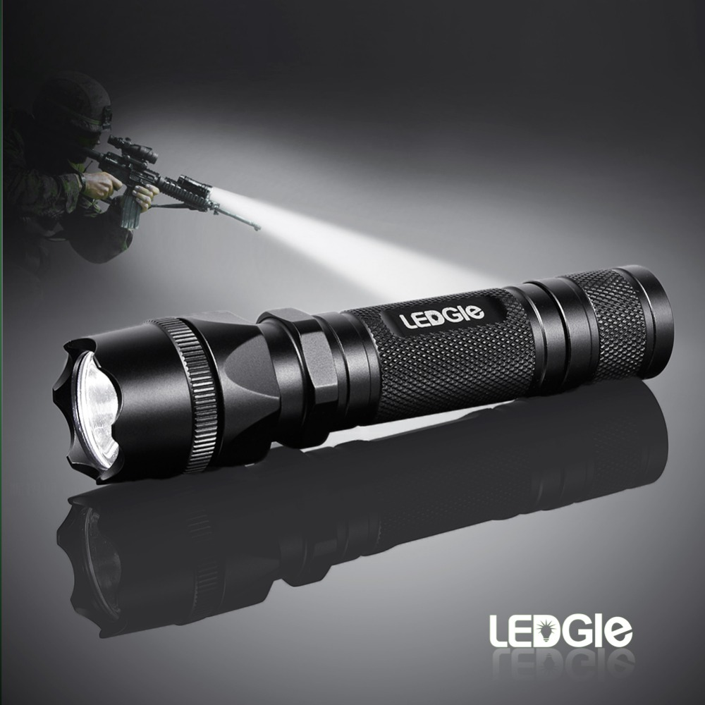 LEDGLE High quality 500 Lumens LED Tactical Flashlight with 5 Lighting Modes, IPX8 Waterproof Flashlights & Torches