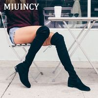 Womens Stretch Suede Knee High Heel Boots Sexy Fashion Lace Up Slim Faux Leather Tall Boots