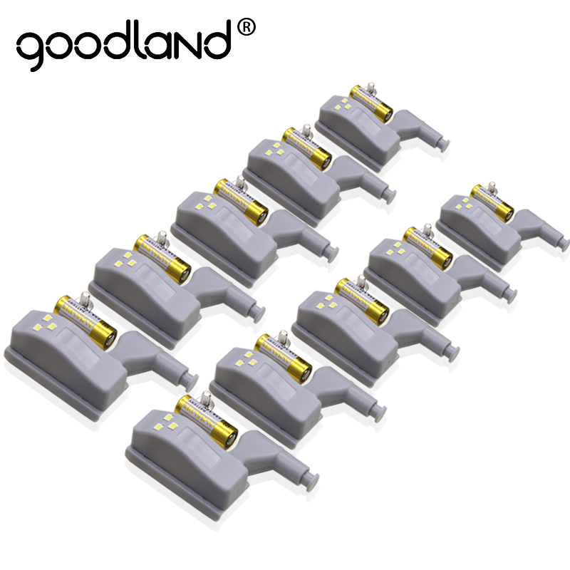 Goodland LED Night Light Automatic Sensor Light Wardrobe Inner Hinge Lamp Cabinet Light With Battery For Kitchen Cupboard Closet