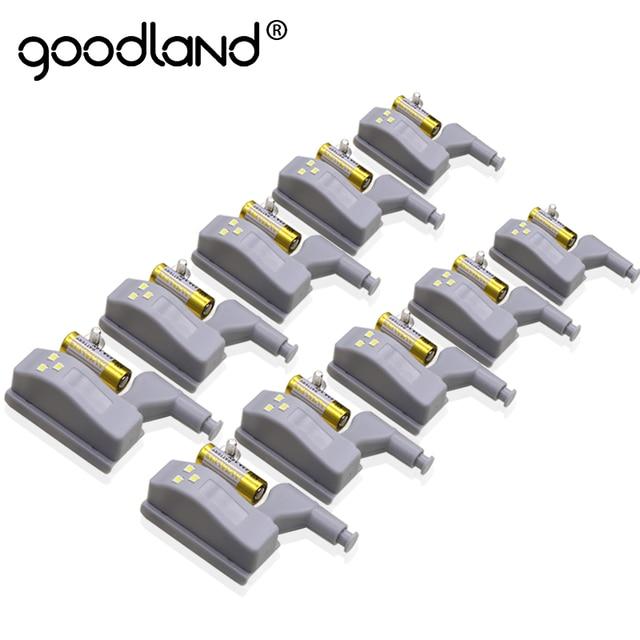 Goodland LED Night Light Automatic Sensor Light Wardrobe Inner Hinge Lamp Cabinet Light With Battery For Kitchen Cupboard Closet