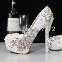 New Design 2015 Pearl Rhinestone Luexy Evening Prom Bridal Shoes Woman 3 Platform High Heel 9