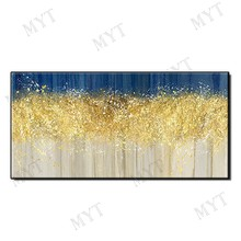 Hand painted landscape gold trees, oil paintings large abstract art wall paintings without frames(China)
