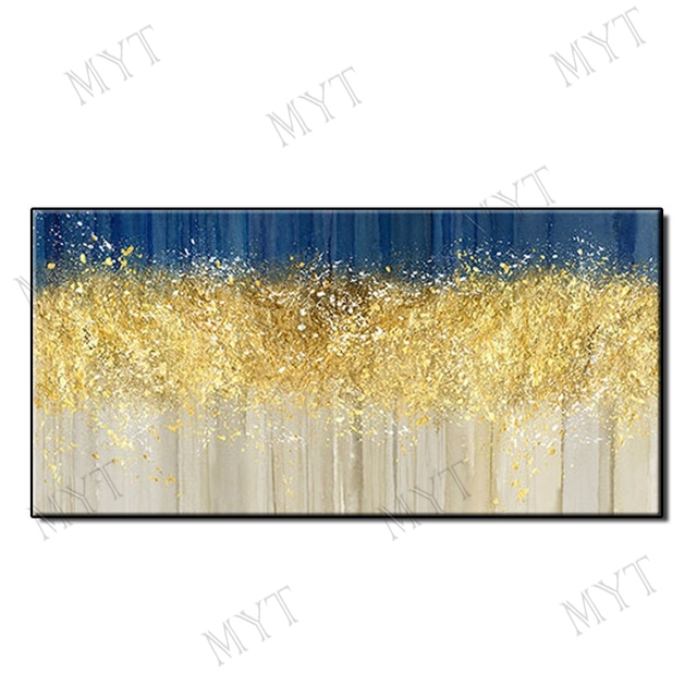 Hand painted landscape gold trees, oil paintings large abstract art wall paintings without frames