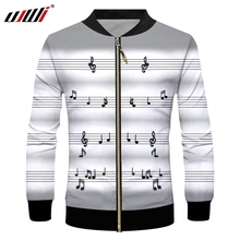 UJWI chaqueta deportiva con cremallera para hombre, chaqueta con estampado 3D de nota Musical, talla grande, ocio, 5XL, licra, con cremallera, envío gratis