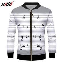 UJWI зимняя горячая распродажа мужская спортивная куртка на молнии с 3D принтом музыкальная нотка большого размера для отдыха 5XL спандекс Мужская куртка на молнии Бесплатная доставка