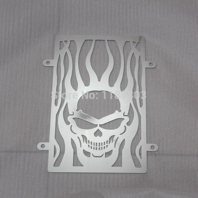 Free Shipping Chrome Motorcycle Skull Radiator Grille Cover Stainless For Kawasaki vulcan VN 900 vn900 custom CLASSIC accessorie