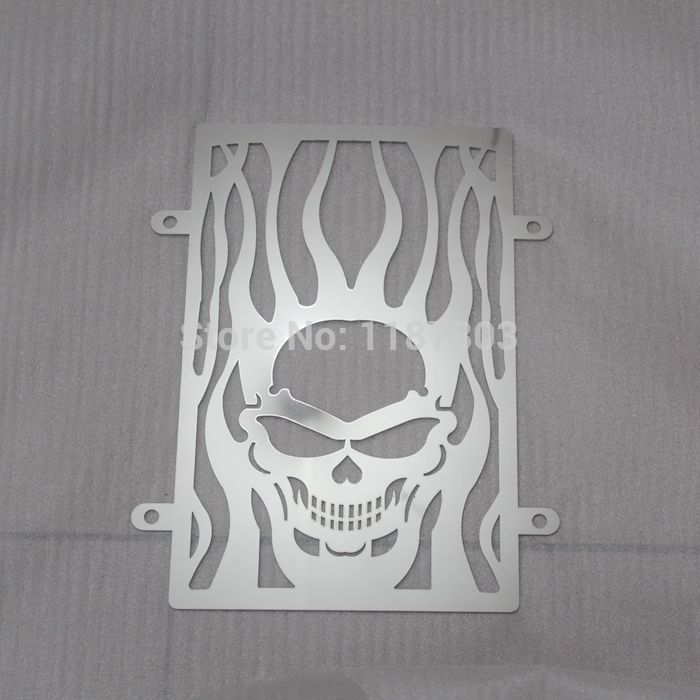 Free Shipping Chrome Motorcycle Skull Radiator Grille Cover Stainless For <font><b>Kawasaki</b></font> <font><b>vulcan</b></font> VN 900 <font><b>vn900</b></font> custom CLASSIC accessorie image