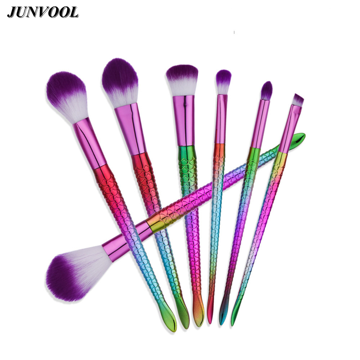 Mermaid Colorful Makeup Brushes Set 7pcs Powder Blusher Eyeliner Eyebrow Face Brush Soft Purple Hair Cosmetic Beauty Tools Kit free shipping 3 pp eyeliner liquid empty pipe pointed thin liquid eyeliner colour makeup tools lfrosted purple
