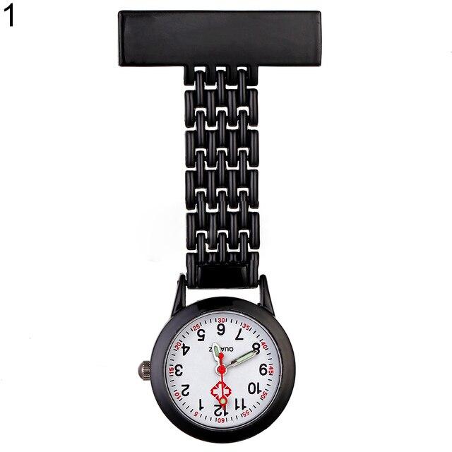 Stylish Metal Clip-on Pocket Quartz Analog Brooch Medical Nurse Fob Watch Gift
