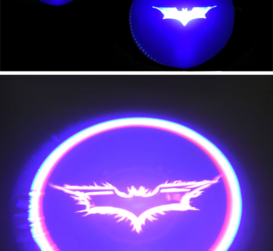 Battery Powered Cartoon Logo Batman LED Car Door Light 3D Laser Projector Lamp Auto Decoration Lighting Bulb Stick On Car (5)