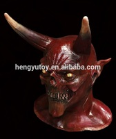 Adult Costume Horror Party Cosplay Halloween Latex Scary Horns Red Devil Mask for sale