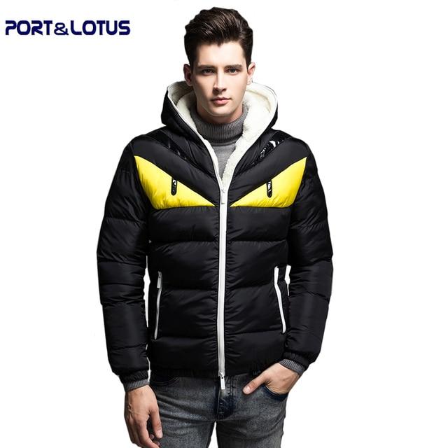 Port&Lotus Men Coat Down Jacket Winter Fashion Casual Contrast Color Printed  Thicken Hat Men Clothing 052 wholesale
