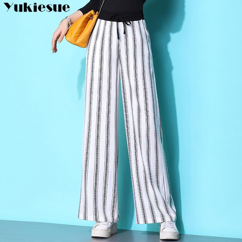 streetwear summer 2019 striped women's   pants   female high waist wide leg   pants     capris   for women trousers woman Plus size 5XL