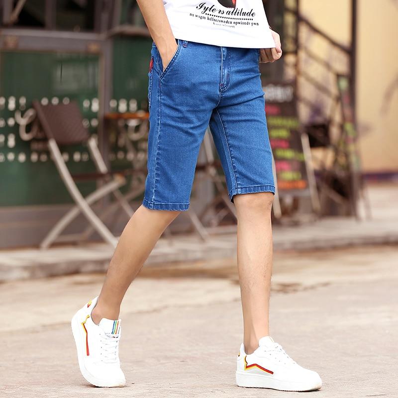 2018 Summer Short Jean Homme Lightweight Short Jeans Mens Knee Length Solid Skinny Jeans Youth Man Denim Pants 8855