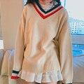 Otoño e invierno las mujeres versión Coreana del viento Colegio suelta modelos de base de cuello v de color colisión simple suéter de punto swea