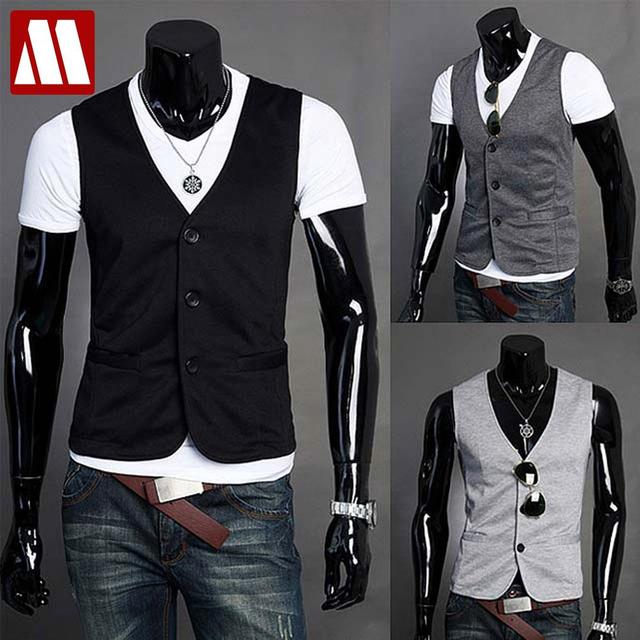 New arrival sale free shipping 2016 men's fashion casual cotton vest man leisure v neck sleeveless jacket coat S M L XXL C202